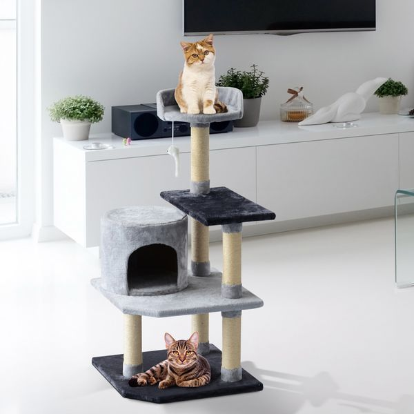 "PawHut 39"" Cat Scratching Tree Kitten Condo Playhouse Kitty Activity Center Rest Post Top Perch with Hanging Toy Grey 