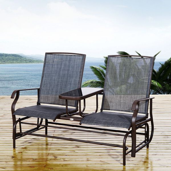 """Outsunny Connected Chairs for Two  58"""" Patio Glider Rocking Chair 2 Person Outdoor Loveseat Rocker Garden Furniture Bench   Aosom Canada"""