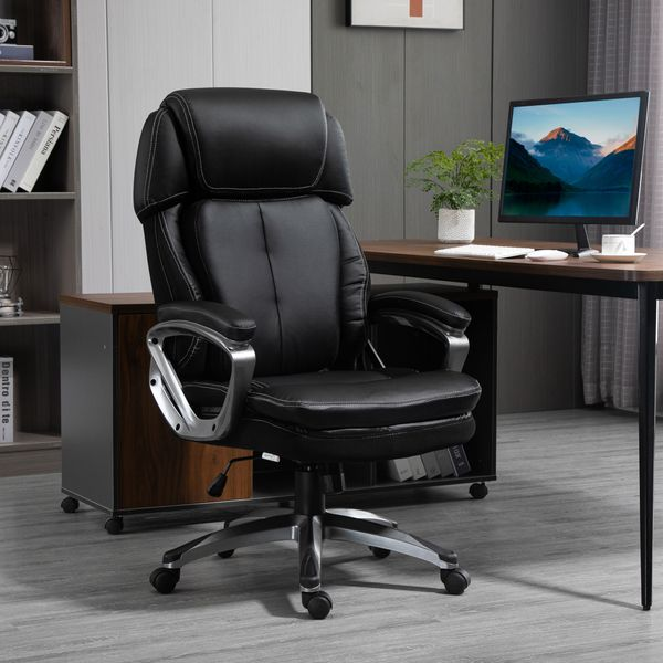 Vinsetto High Back Executive Chair Ergonomic Task Seat PU Leather Swivel Computer Office Chair for Office with Padded Armrests, Adjustable Height, Black w/ Height | Aosom Canada