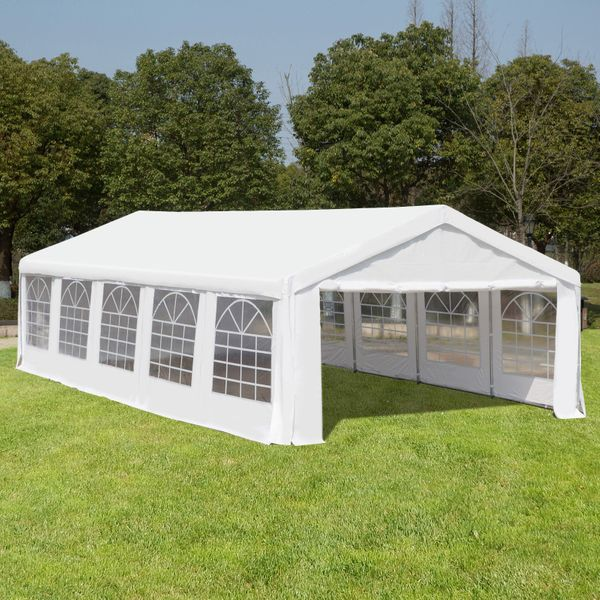Outsunny Heavy Duty Party Tent 32x16FT Large Carport Canopy Wedding Event  Gazebo White