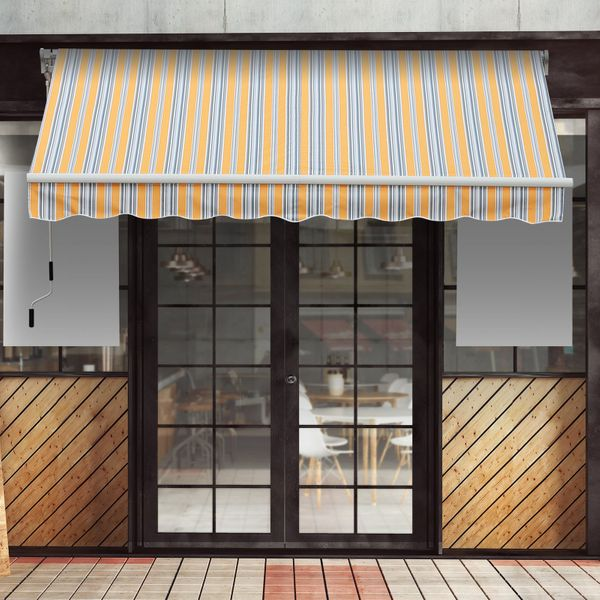 Outsunny 13'x8' Manual Retractable Patio Awning Water-resistant Sun Shade Outdoor Deck Window Door Canopy Shelter Aluminum Frame Mix Color