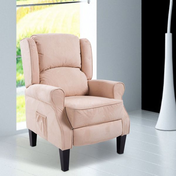 HOMCOM Heated Vibrating Suede Massage Recliner Sofa Chair Adjustable Armchair Lounge w/ Remote Control Beige   Aosom Canada