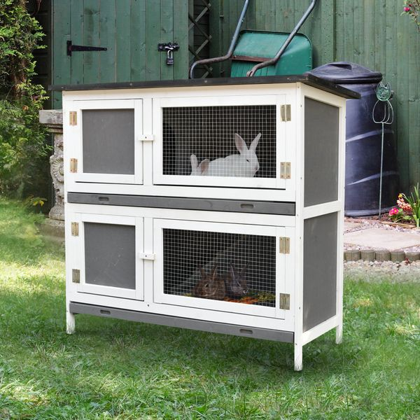 Pawhut Solid Wood Rabbit/Bunny Hutch with 2 Large Main Rooms  Protection from UV Rays and Water  and Firm Cage  Grey   Aosom Canada