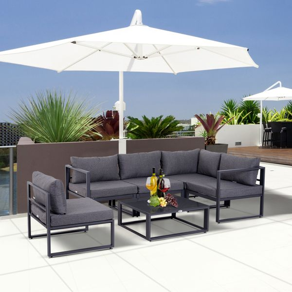 Outsunny Outdoor 6 Piece Aluminum Framed Sectional Sofa Set Conversation Couch Lounger Coffee Table w/ Cushion 6PC Furniture w/Cushions|AOSOM.CA
