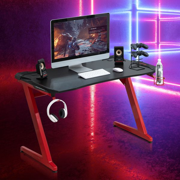 HOMCOM Home Office Gaming Desk Computer Writing Table with Large Workstation, Cup Holder, Headphone Rack, Gamepad Rack , Black and Red