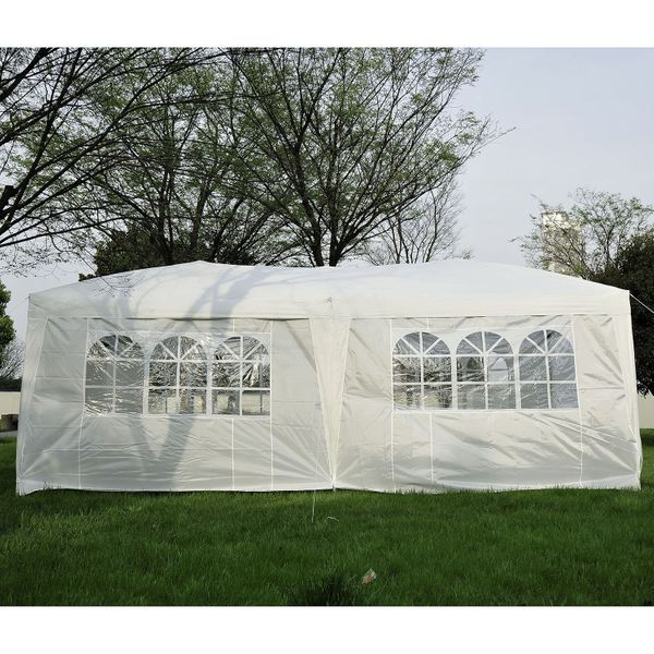 Outsunny 10'x20' Outdoor Folding Pop Up Party Tent Wedding Gazebo Canopy Patio Shelter with 6 Sidewalls, White | Aosom Canada