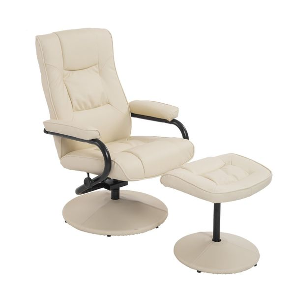 HOMCOM Modern Recliner Contemporary Recliner Chair and Ottoman Set Swivel Armchair with Wrapped Base Cream |Aosom Canada
