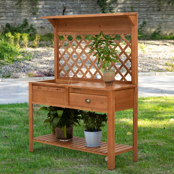 Outsunny 47'' x 17'' x 59'' Wooden Garden Potting Table with Shelf Drawer Plant Work Bench Workstation Outdoor  Nature Wood Color | Aosom Canada