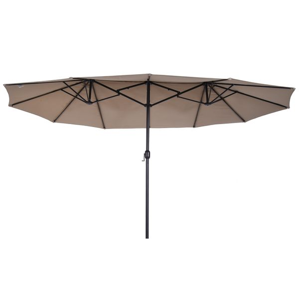 Outsunny 15' Outdoor Patio Umbrella with Twin Canopy Sunshade Coffee|Aosom Canada