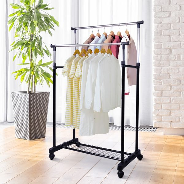 HOMCOM Heavy Duty Double Rail Clothes Rack Clothing Garment Rack with Wheels and Bottom Shelf | Aosom Canada