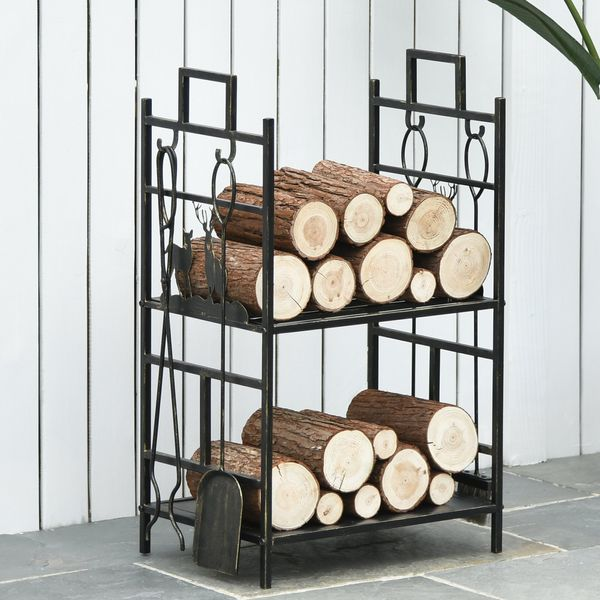 Outsunny 2-Layer Heavy Duty Firewood Rack Wood Log Fireplace Stacker  w/ 4 Tools  Gold
