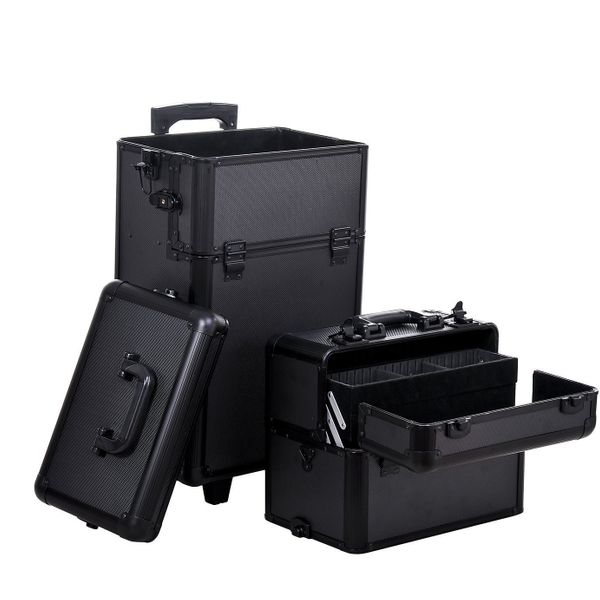 Homcom Large Storage Box Make Up Case Cosmetic Organizer Box for Make Up Tools Lockable Black Containing Makeup Organizer | Aosom Canada