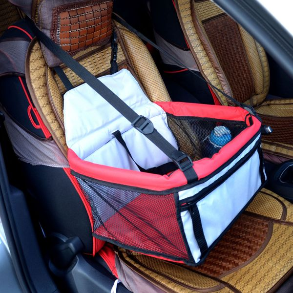 PawhutPets Dog Cat Travel Bed puppy Car Booster Seat Bag Carrier Tote Foldable dog hammock cover car-detecto Red and Grey|Aosom Canada
