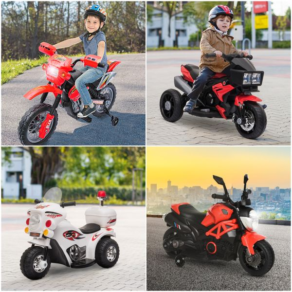 Aosom 6V Electric Kids Ride-On Motorcycle Battery Powered Dirt Bike Scooter w/ Training Wheels Red | Aosom Canada