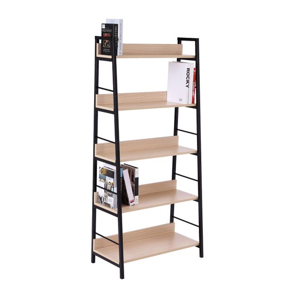HOMCOM 5-Tier Bookcase 5-Tier Wide Shelving Storage Industrial, Floor Standing Bookcase Living Room Office, Simple Assembly Oak/Black   Aosom Canada
