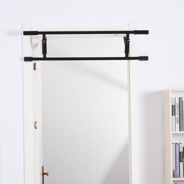 Soozier Doorway Pull Up Bar Multifunctional Portable Gym System with Strong Hook Structure Black | Aosom Canada