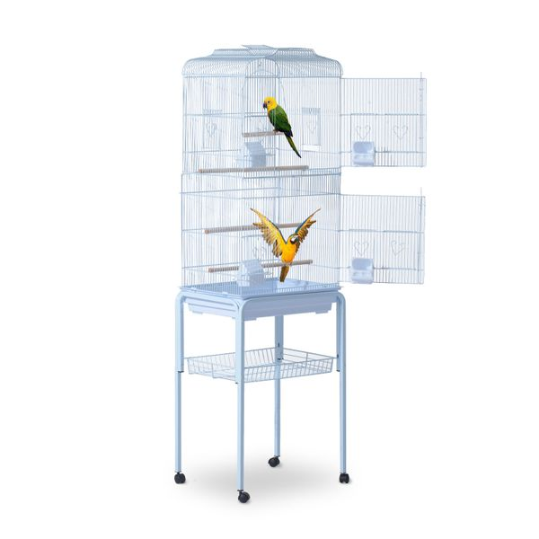 "Pawhut Bird Cage 63"" Large Macaw Cockatoo House Parrot Play Top Finch Pet Supply with Wheels White 