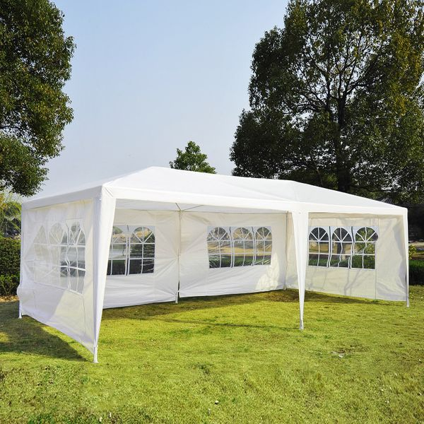 Outsunny 10x20ft Wedding Party Tent Gazebo Canopy Outdoor Event Sunshade Shelter w/ 4 Removable Window Side Walls White | Aosom Canada