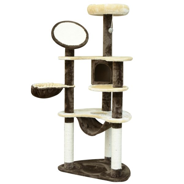 """PawHut 60"""" Multilevel Cat Tree Activity Tower Condo with Hammock & Ball 60-inch Scratching Post Pet House Furniture Brown/Tan