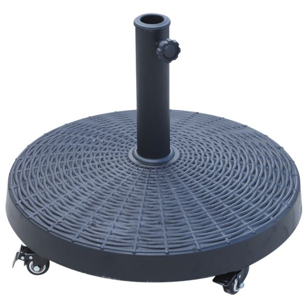 "Outsunny 20.5"" Resin Patio Umbrella Base Weight Stand Deck Parasol w /Wheels