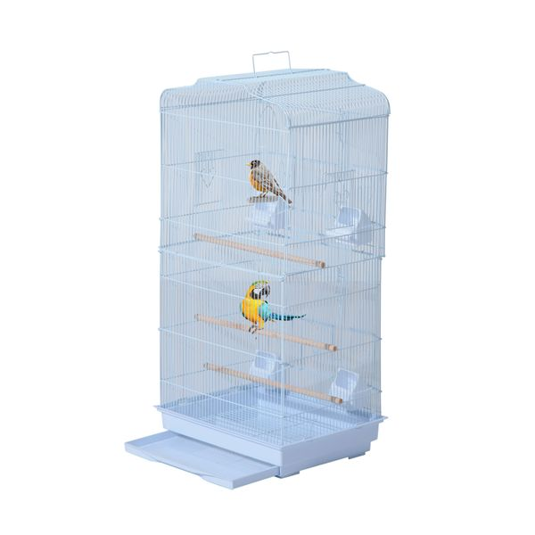 "PawHut 36"" Bird Cage Macaw Play House Cockatoo Parrot Finch Flight Cage 2 Doors Perch 4 Feeder Pet Supplies White
