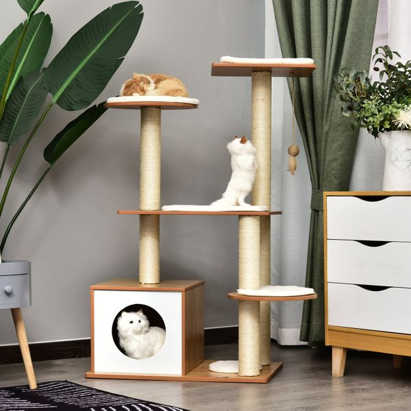 """PawHut Multi-Level Cat TreeCondo With Sisal Scratching Posts Plush Perch And House PetTowerFurnitureKitty Activity Center 32.75"""" Tall Large Perch & Condo
