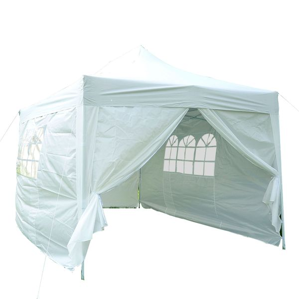 Outsunny Canopy Tent 10'x15' Pop Up Shade Tent Party Tent Folding Wedding Gazebo with Removable Sidewalls Waterproof w/ Side Walls White | Aosom Canada