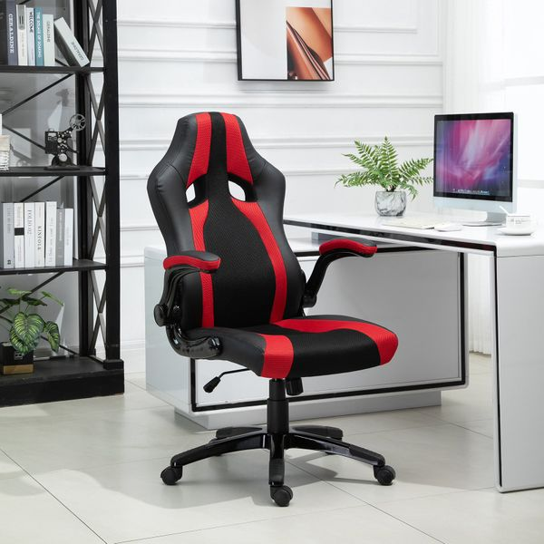Vinsetto Office Chair Height Changeable Upturning Armrest Wheels Office Gaming Chair Trendy