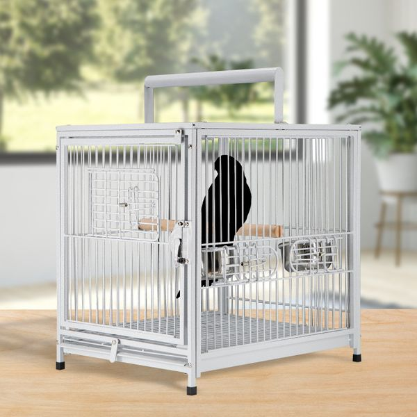 "PawHut 18"" Portable Heavy Duty Travel Bird Cage Parrot Carrier Metal w/ Handle & Perch White Vein