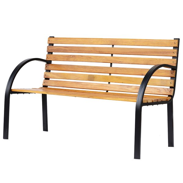 Outsunny Garden Outdoor Patio 2-Person Wooden Bench Park Yard Furniture Loveseat Steel Frame | Aosom Canada