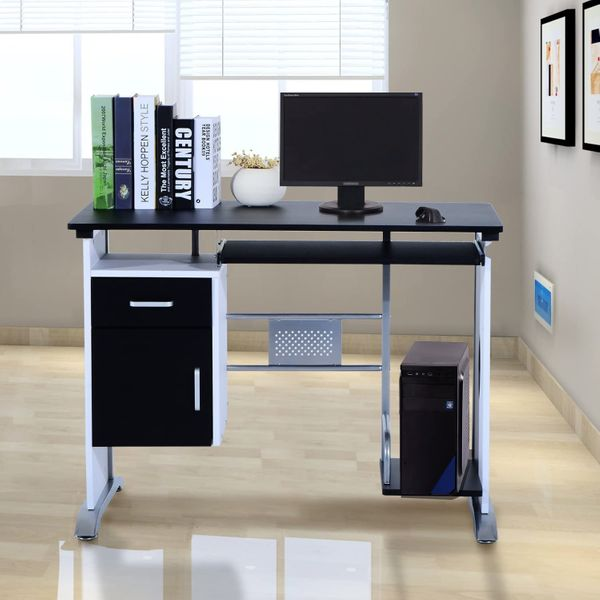 HOMCOM Computer Desk Table Home Office Furniture with Keyboard Tray and CPU Stand Laptop PC Workstation w/ Drawer | Aosom Canada