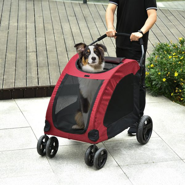 PawHut Pet Stroller Universal Wheel with Storage Basket Ventilated Foldable Oxford Fabric for Medium or Large Size Dogs Red | Aosom Canada