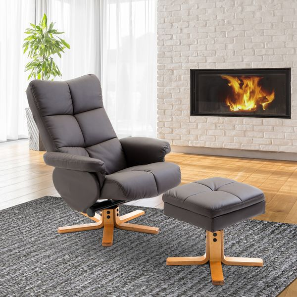 HOMCOM Leather Recliner and Ottoman Set Swivel Lounge Chair w/ Wood Base and Storage Footrest Living Room Furniture Seat Brown|Aosom Canada