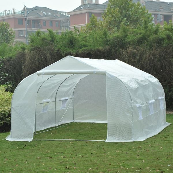 Outsunny Large Heavy Duty Walk-In Greenhouse 11.5'x10'x7' Portable Garden Plant Growing House Tunnel Ventilation PE White |Aosom Canada