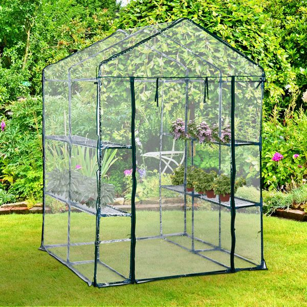 Outsunny 4.7' x 4.7' x 6.4' Portable Walk-in Flower Greenhouse Plants Warm Garden Transparent Green House | Aosom Canada