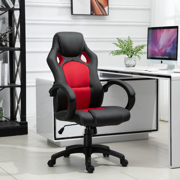 HOMCOM Racecar Styled Office Chair High Back Leather EXECUTIVE Computer Home Office Desk Swivel Chair|Aosom Canada