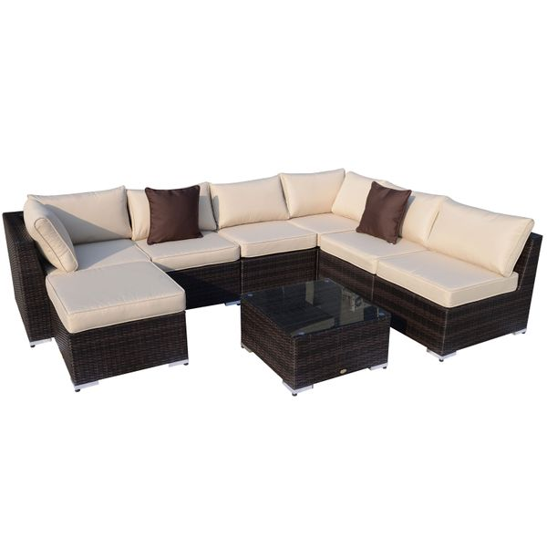 Outsunny 8pcs Garden Rattan Sofa Set Outdoor Wicker Sectional Lounge Chair and Table Aluminum Frame All Weather w/ Cushion|Aosom Canada