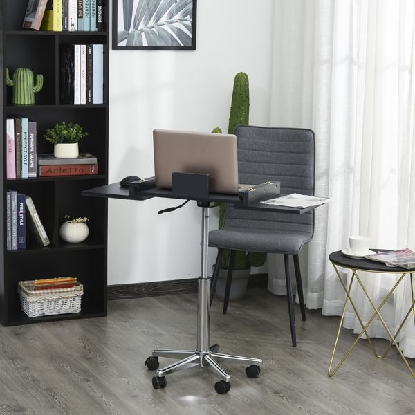 HOMCOM Laptop Computer Desk Expandable Home Office Table Workstation with Wheels