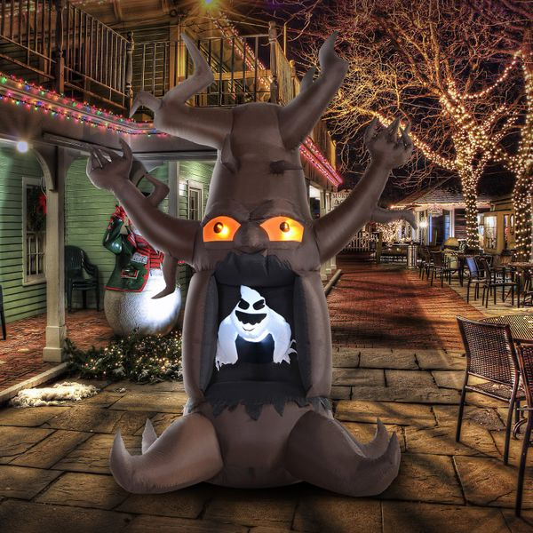 HOMCOM 8ft  LED Outdoor Halloween Inflatable Decoration - White Ghost Blow up from Dead Tree|AOSOM.CA