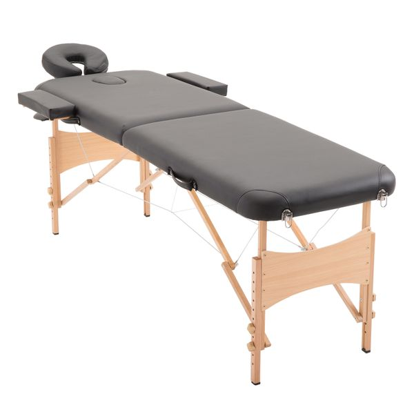 HOMCOM Portable Massage Table 72Inch 2 Section Adjustable Massage Table Portable Folding Spa Facial Couch Bed w/ Free Carry Case Black | Aosom Canada