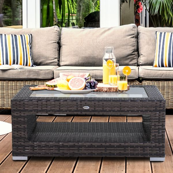 Outsunny 2-Tier Outdoor PE Wicker Coffee Table Patio Rattan Garden  End Desk with Glass Top w/Glass|AOSOM.CA