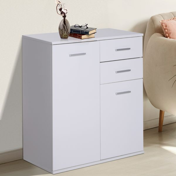 HOMCOM Free Standing Storage Cabinet Console Sideboard Table Living Room Entryway Kitchen Organizer with Drawers White | Aosom Canada