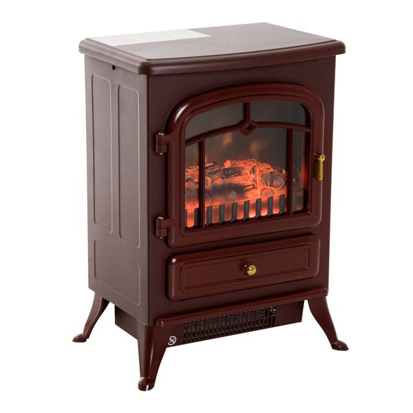 Homcom Electric Fireplace Wood Burning Flame 750w 1500w 16 Free Standing Portable Adjustable Stove With Heater