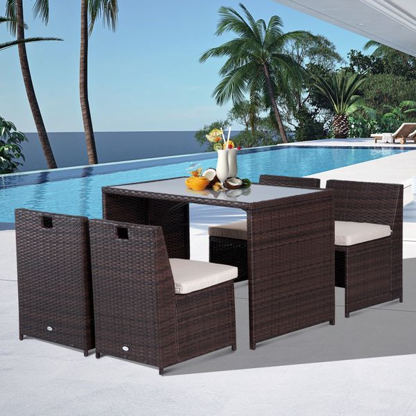 Outsunny Outunny 5PC Rattan Wicker Chairs Set Patio Garden Furniture Cushioned Dining Table ChairsDining AOSOM.CA