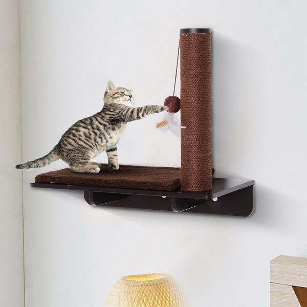 PawHut Cat Climbing Frame Shelf Wall-mounted w/ Mat and Toy with durable hemp ropes Hammock Pet Furniture Play House Brown | Aosom Canada