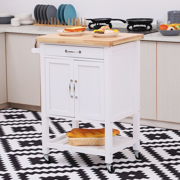 Homcom Kitchen Storage Trolley Cart Rolling Cupboard Island Wood Worktop Cabinet w/ Towel Rack and Drawer White | Aosom Canada