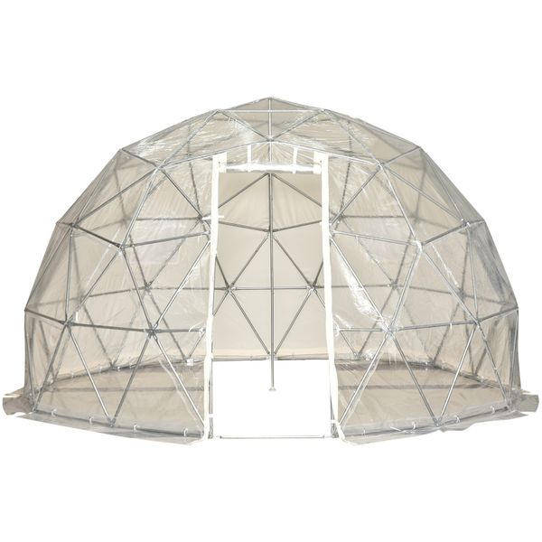 Outsunny Garden Dome Igloo Tent Half Ball Shape Greenhouse Luxury Glamping Tent Outdoor Half Transparent Home Greenhouse | Aosom Canada