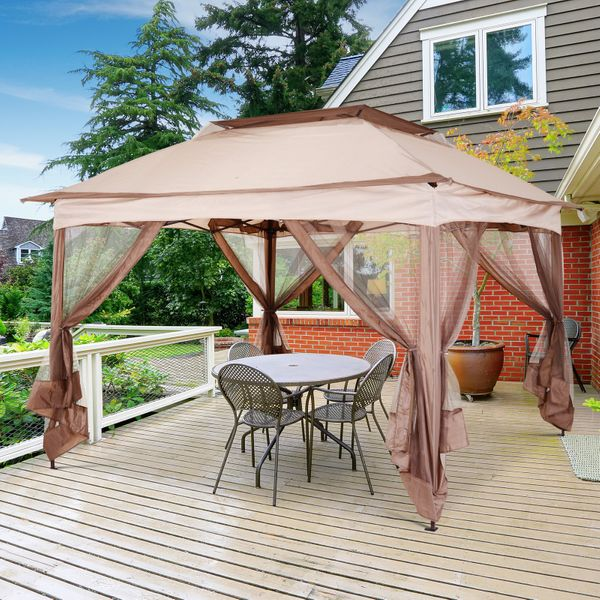 Outsunny 11x11ft Pop Up Canopy with Mosquito Netting | Aosom Canada
