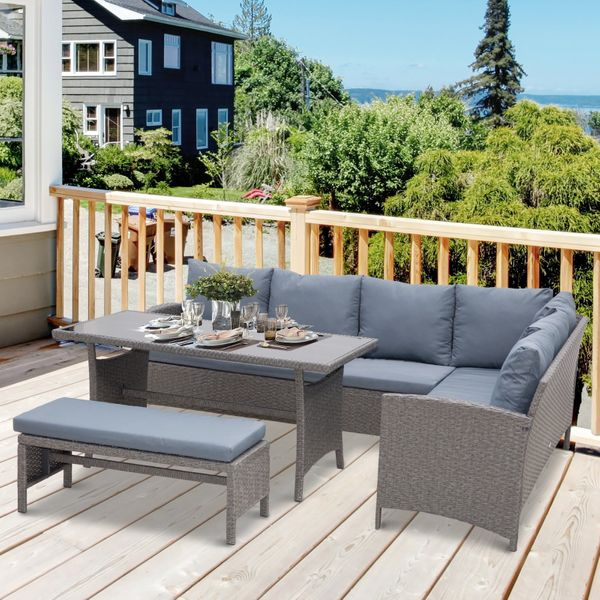 Outsunny 4 Piece Modern Outdoor Patio Rattan Wicker Furniture Patio Dining Table Bench Sofa Set - Grey 4pc | Aosom Canada