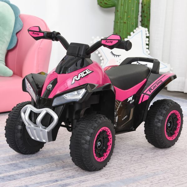 Aosom Ride on Toy for Kids 4 Wheel Motorcycle Baby Walker Toddler Ride on Car Battery Powered Toys for Boys and Girls Lightening Music for 18-36 Months Pink | Aosom Canada
